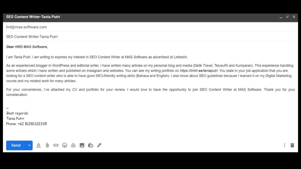 Contoh Email Lamaran Kerja